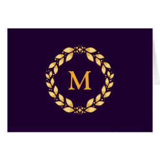 Ornate Golden Leaved Roman Wreath Monogram -Purple Greeting Card
