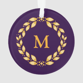 Ornate Golden Leaved Roman Wreath Monogram -Purple Ornament