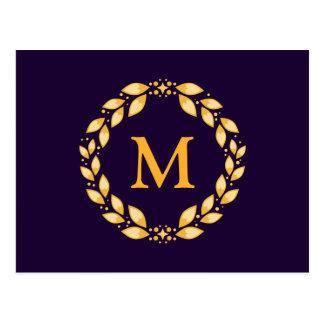Ornate Golden Leaved Roman Wreath Monogram -Purple Postcard