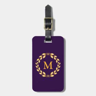 Ornate Golden Leaved Roman Wreath Monogram -Purple Tags For Bags