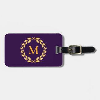 Ornate Golden Leaved Roman Wreath Monogram -Purple Travel Bag Tags