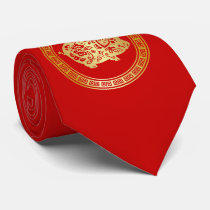 Ornate Golden Red Papercut Year of the Pig Neck Tie