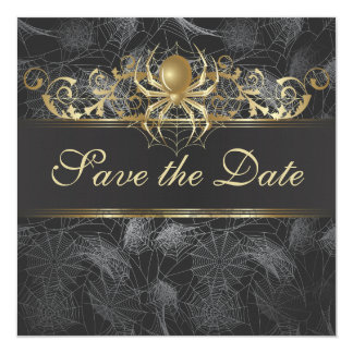 Ornate Golden Spiders Save the Date Invitation Custom Invites