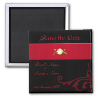 Ornate Gothic Save the Date Magnet Black and Red