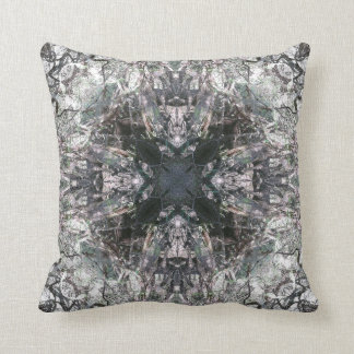 Ornate Gothic Stained Glass Square Cross Mandala Throw Pillow