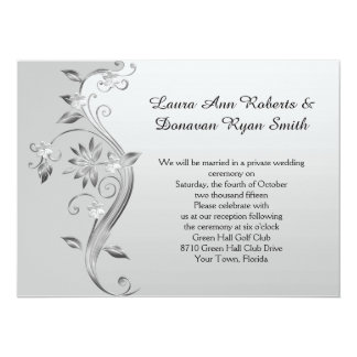 Ornate Gray and Silver Floral Reception Only Card