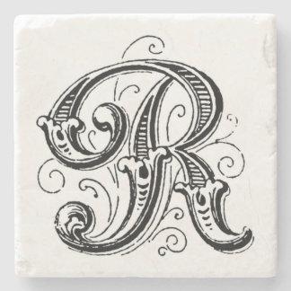 Ornate Gray Monogram 'R' Stone Beverage Coaster