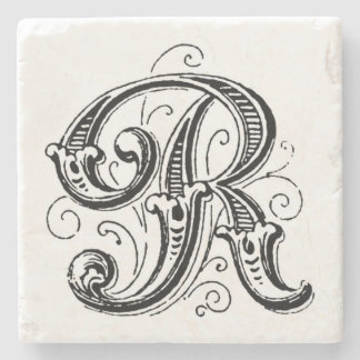 Ornate Gray Monogram 'R' Stone Coaster
