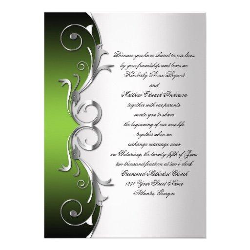 Ornate Green Black Silver Wedding Celebration Custom Invites