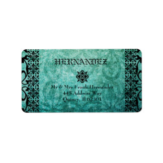 Ornate Green Damask Gothic Address Label. Label