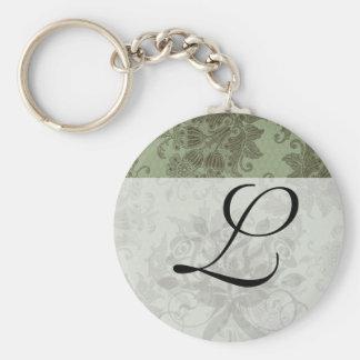 ornate green floral damask keychains