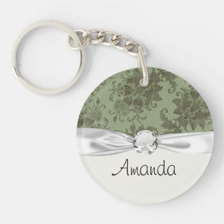 ornate green floral damask lattice round acrylic keychains