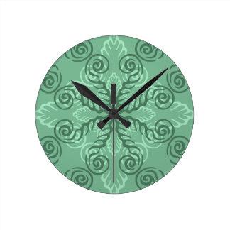 Ornate Green Leafy Scrollwork Wall Clock