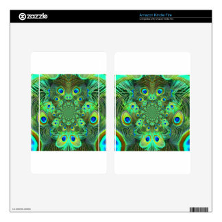 Ornate Green Peacock Feathers GIFTS Decal For Kindle Fire