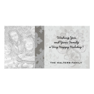 ornate grey diamond damask design card