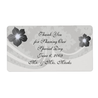 ornate grey diamond damask design shipping label