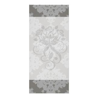 ornate grey diamond damask design personalized rack card