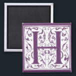"Ornate H Monogram Magnet<br><div class=""desc"">Customize background color,  add text,  and change size and placement of image. Please contact me if you would like this image in a different color or product or need assistance.</div>"