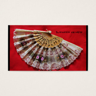 Ornate Hand Held Fan on a Red Background Business Card