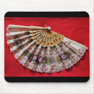 Ornate Hand Held Fan on a Red Background Mouse Pad
