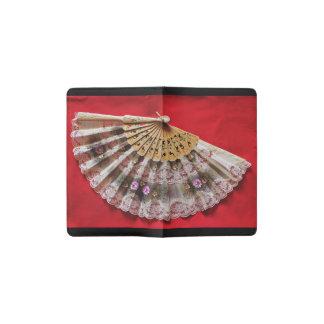 Ornate Hand Held Fan on a Red Background Pocket Moleskine Notebook