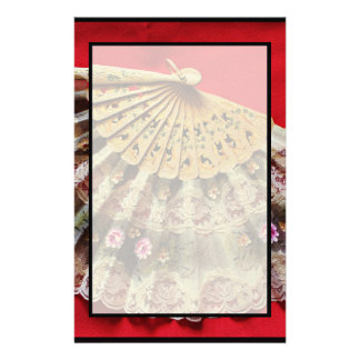 Ornate Hand Held Fan on a Red Background Stationery