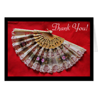 Ornate Hand Held Fan on a Red Background Thank You Card