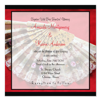 Ornate Hand Held Fan on a Red Background Wedding Card