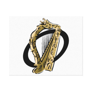 Ornate harp graphic black ring.png canvas print