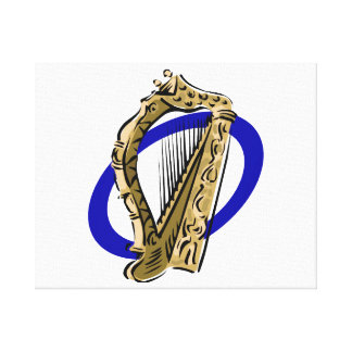 Ornate harp graphic blue ring.png canvas print