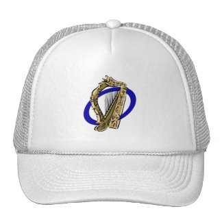 Ornate harp graphic blue ring.png trucker hat