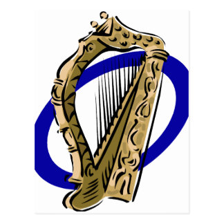 Ornate harp graphic blue ring.png postcard