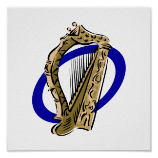 Ornate harp graphic blue ring.png poster