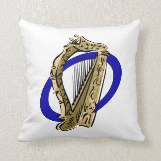 Ornate harp graphic blue ring.png throw pillow