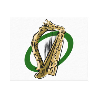 Ornate harp graphic green ring.png canvas print