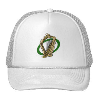 Ornate harp graphic green ring.png trucker hat