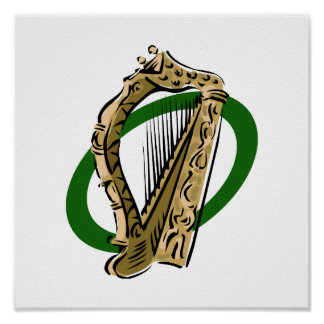 Ornate harp graphic green ring.png poster