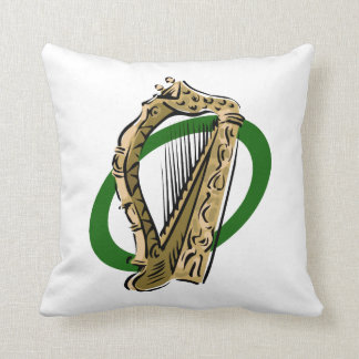 Ornate harp graphic green ring.png throw pillow