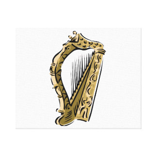 Ornate harp graphic  music.png canvas print