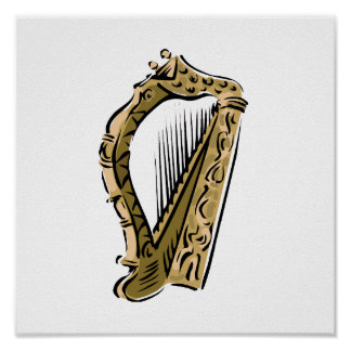 Ornate harp graphic  music.png poster