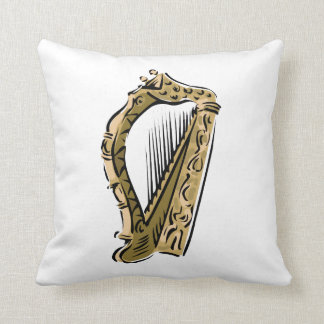 Ornate harp graphic  music.png throw pillow