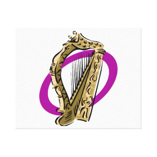Ornate harp graphic purple ring.png canvas print