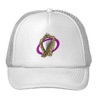 Ornate harp graphic purple ring.png trucker hat