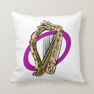 Ornate harp graphic purple ring.png throw pillow