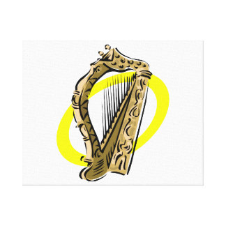 Ornate harp graphic yellow ring.png canvas print