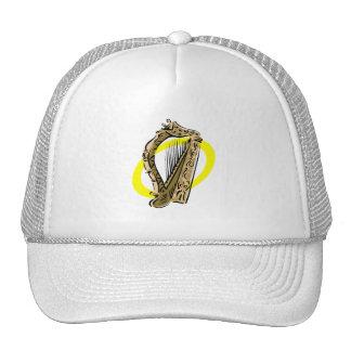 Ornate harp graphic yellow ring.png trucker hat