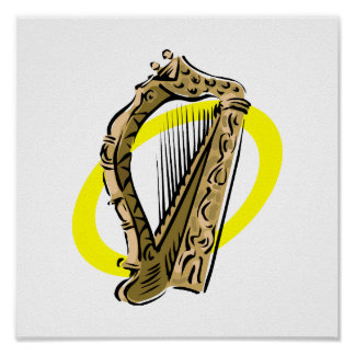 Ornate harp graphic yellow ring.png poster