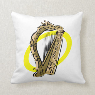 Ornate harp graphic yellow ring.png throw pillow