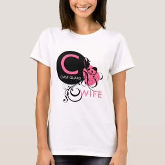 Ornate Initial - Coast Guard Wife T-Shirt