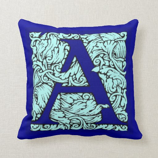 Ornate Initial Letter A Pillows